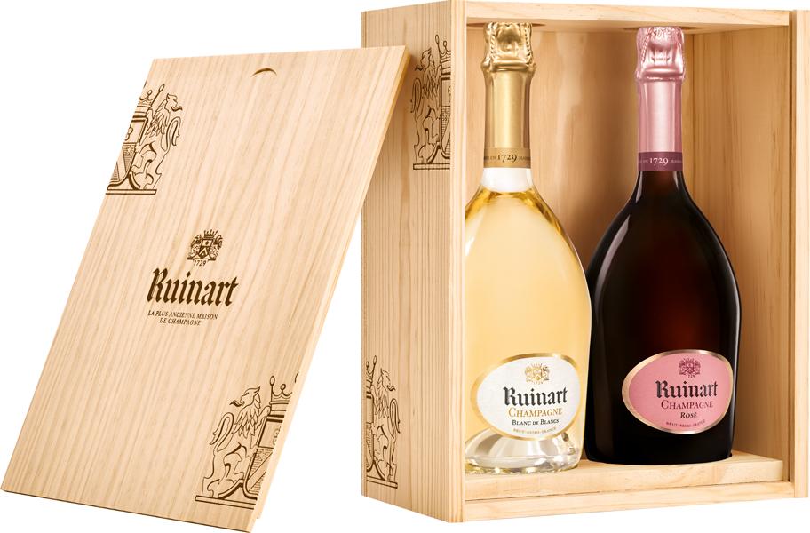 Ruinart Champagner Blanc & Rosé 2er-Holzbox